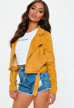 Missguided Yellow Faux Suede Biker Jacket