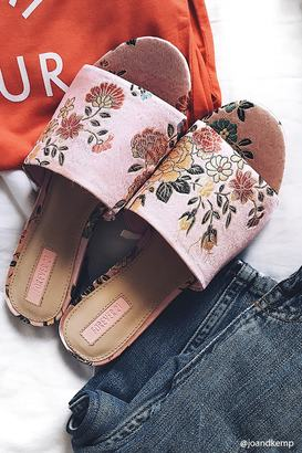 FOREVER 21+ Floral Embroidered Satin Mules $24.90 thestylecure.com