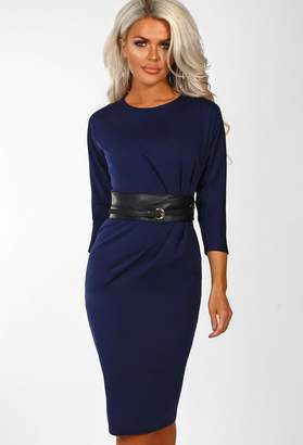 Pink Boutique Everyday VIP Navy Belted Ruched Midi Dress