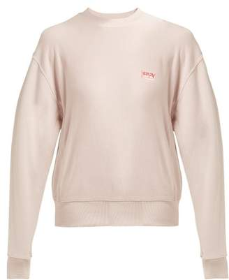 Aries Logo Print Cotton Sweatshirt - Womens - Light Pink