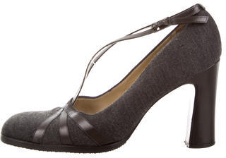 Bottega Veneta Bottega Veneta Leather-Trimmed Square-Toe Pumps