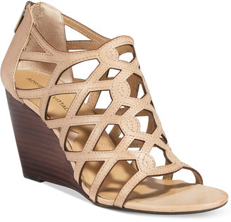 Adrienne Vittadini Alby Strappy Wedge Sandals $99 thestylecure.com