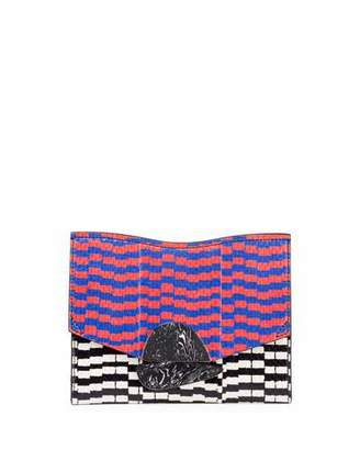 Proenza Schouler Curl Small Mixed-Print Snakeskin Clutch Bag, Black/Yellow/Geranium $1,290 thestylecure.com