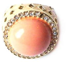 Johnny Loves Rosie Coral Stone Cocktail Ring - Size N