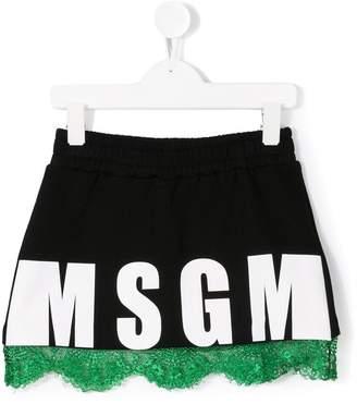 MSGM logo lace trim mini skirt