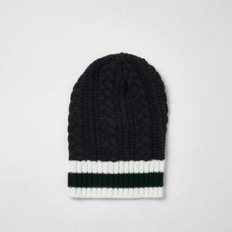River Island Grey stripe and cable knit slouch beanie hat