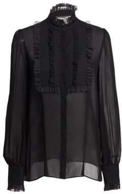 Dolce & Gabbana Silk Georgette Ruffle Bib Blouse