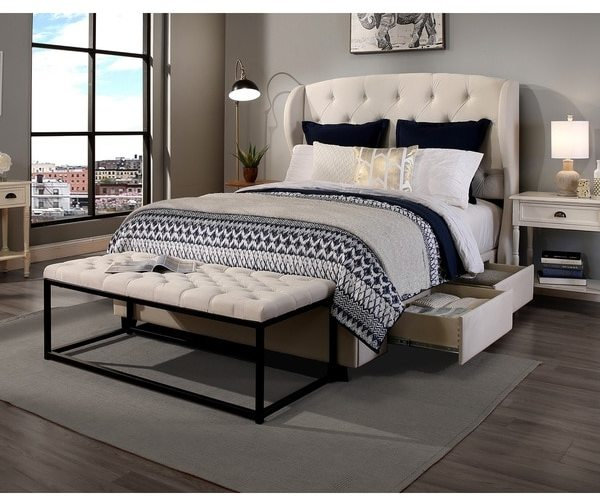 Republic Design House Archer Ivory King/Cal King Headboard, Storage bed and Wide Tufted Flat Bench Collection