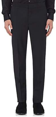 Burberry MEN'S BLACK WOOL-MOHAIR FLAT-FRONT TROUSERS