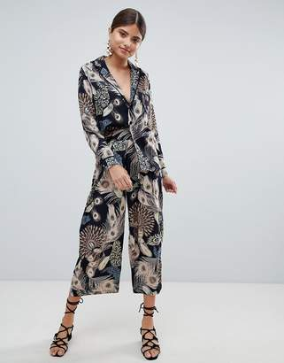 Missguided peacock feather print cullottes