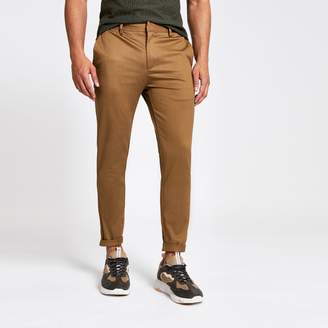 River Island Mens Light Brown skinny fit cropped chino trousers