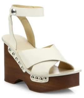 Rag & Bone Hester Leather Ankle-Strap Wedge Clog Sandals