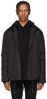 Yves Salomon Black Technical Fur-Lined Coat