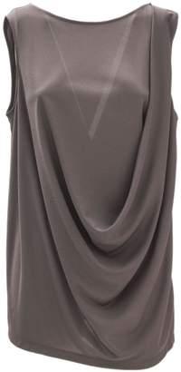 Fabiana Filippi Brown Viscose Jersey Crepe Fabric Tank Top.