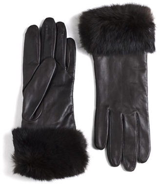 Lord & Taylor Leather Rabbit Fur-Cuff Gloves $85 thestylecure.com