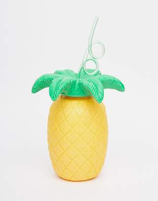 Sunnylife Pineapple Drink Holder with Straw $19 thestylecure.com