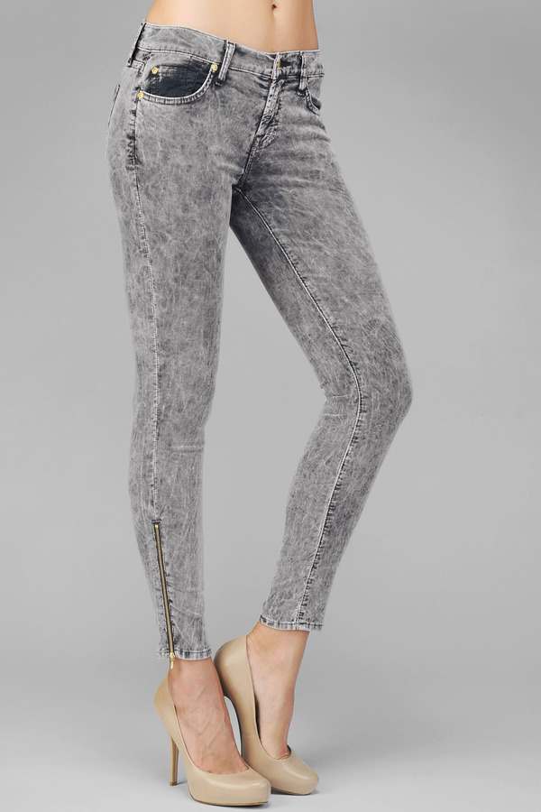 7 For All Mankind The Skinny With Ankle Zippers In Charcoal Corduroy
