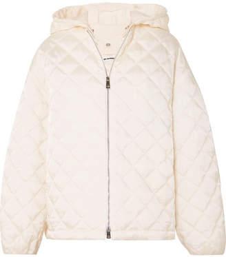 Jil Sander Hooded Cotton Poplin-trimmed Quilted Shell Jacket - White