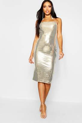 boohoo Sequin Square Neck Strappy Back Midi Dress