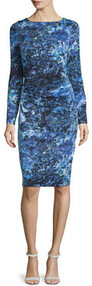 David Meister Long-Sleeve Printed Jersey Dress $795 thestylecure.com