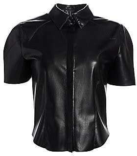 Nanushka Women's Clare Vegan Leather Collared Shirt