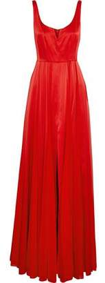 Halston Split-Front Satin And Pleated Chiffon Gown