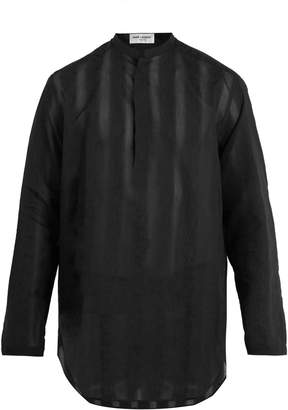 Saint Laurent Floral-embroidered sheer cotton-blend shirt