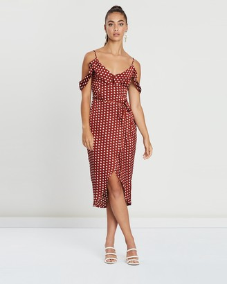 Missguided Spot Print Satin Frill Midi Dress