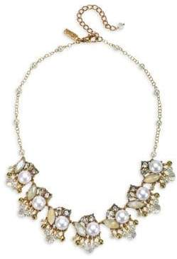 Badgley Mischka 10K Gold, Crystal & Faux Pearl Statement Necklace
