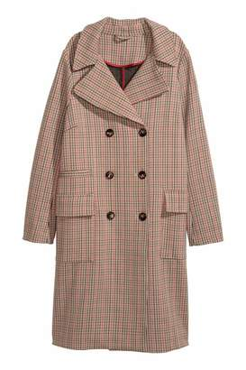 H&M Double-breasted Coat - Beige/checked - Women