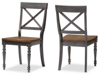 Baxton Studio Set of 2 Rosalind Shabby Chic Country Cottage Solid Oak Wood Finishing X - Back Dining Side Chairs - Gray, Brown