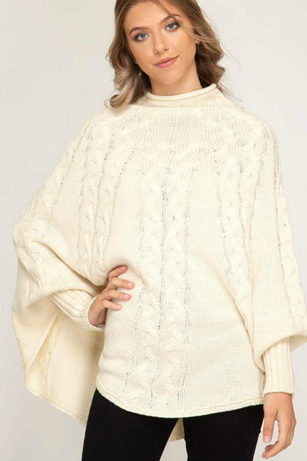 She + Sky Cableknit Sweater Poncho