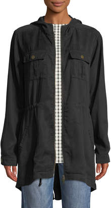 Three Dots Hooded Twill Utility Jacket