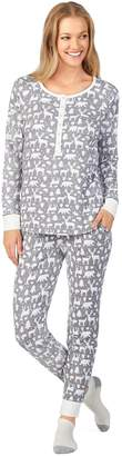 Cuddl Duds Women's Enchanted Henley Top, Jogger & Socks Pajama Set