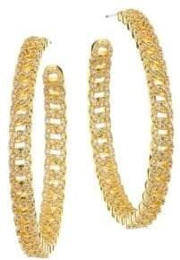 Fallon Yacht Club Pave Curb Chain Hoop Earrings