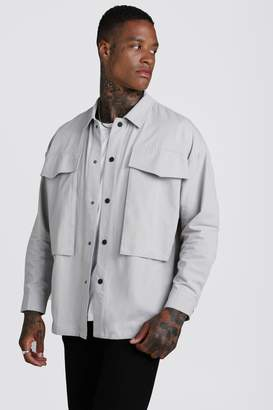 boohoo Cotton Twill Popper Detail Overshirt