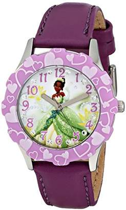Disney Kids' W001600 Tiana Stainless Steel and Leather Strap Watch