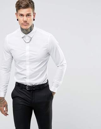 Asos Slim Fit Shirt With Chain Detail