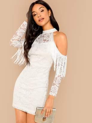 Shein Fringe Seamed Cold Shoulder Lace Bodycon Dress