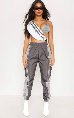 PrettyLittleThing Charcoal Contrast Panel Pocket Shell Jogger