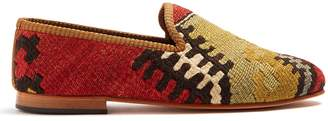 ARTEMIS DESIGN SHOES Patterned-woven Kilim and leather loafers