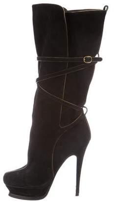 Saint Laurent Suede High-Heel Boots