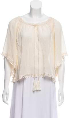 LoveShackFancy Semi-Sheer Bell Sleeve Blouse