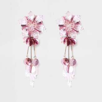 River Island Womens Pink bead and sequin flower clip on earrings