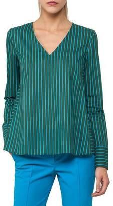 Akris Punto V-Neck Long-Sleeve Striped Top