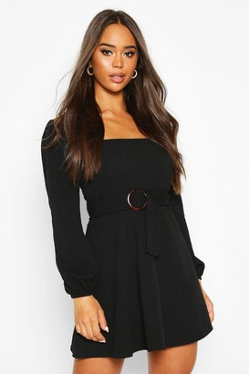 boohoo Square Neck O-Ring Buckle Skater Dress