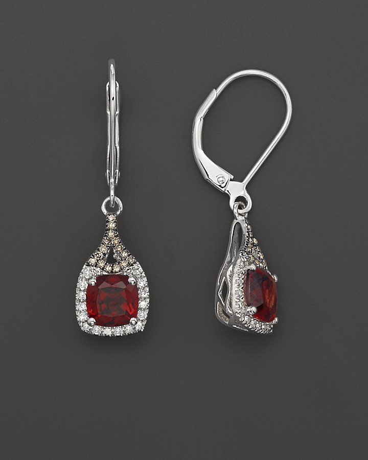 Badgley Mischka Garnet with white and brown diamond dangle earrings