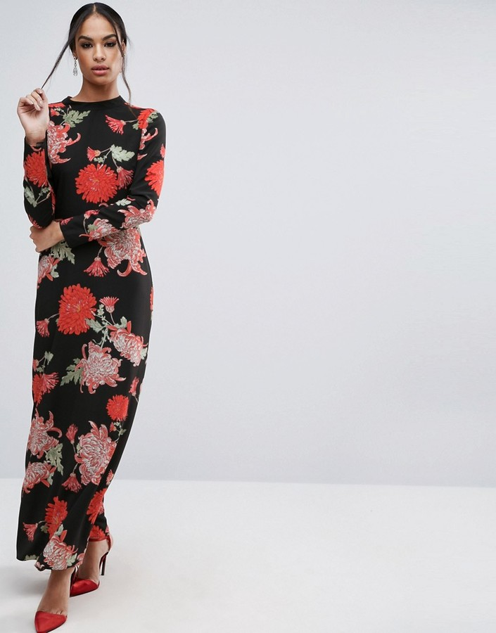 AsosASOS Maxi Dress with Long Sleeve in Large Scale Floral Print