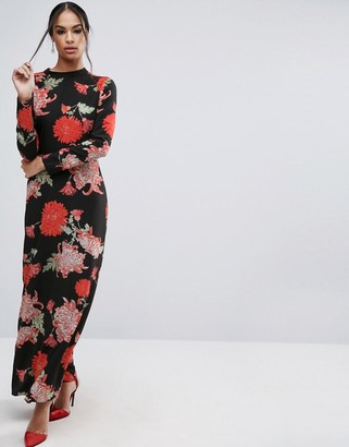 ASOS Maxi Dress with Long Sleeve in Large Scale Floral Print $73 thestylecure.com