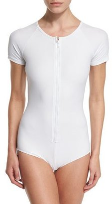 Cover UPF 50+ Short-Sleeve Zip Swimsuit $175 thestylecure.com